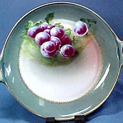 Bavarian China Artist Signed Plate with Purple Plums