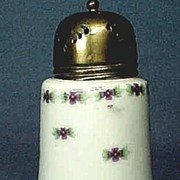 Antique Staffordshire Muffineer or Sugar Shaker with Violets