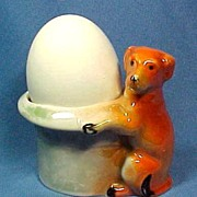 Figural Egg Cup or Toothpick Holder with Beautiful Dog