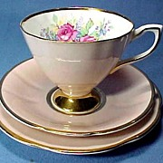 SALE Trio Cup and Saucer with Plate English China with Roses