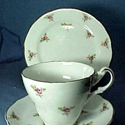 English China Trio Cup and Saucer with Matching Plate Roses