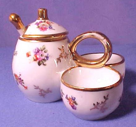 Vintage Limoges Porcelain Condiment set with Flowers