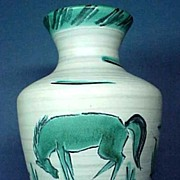 SALE Signed Art Pottery Vase  Hand Painted with Horse
