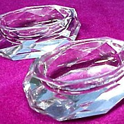 SALE Pair of Faceted Cut Crystal Open Salts