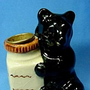 Black Bear Thimble Holder Vintage Pottery
