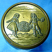 Victorian Paneled Glass Dresser Jar with Girl and Boy