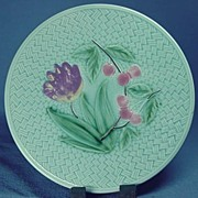 SALE Majolica Basketweave Plate with Cherries and Tulip Germany