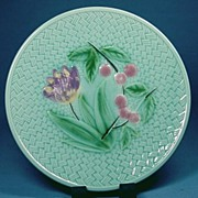 SALE Majolica Plate with Tulip and Cherries Germany