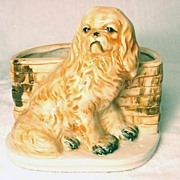 SALE Hand Painted Spaniel and Basket Cache Pot or Vase