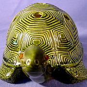 SALE Ceramic Turtle with Jewel Eyes Signed 1970s