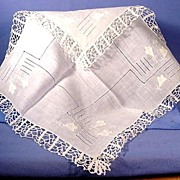 Vintage Wedding Handkerchief Fine Linen and Hand Made Lace
