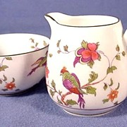 English China Sugar and Creamer with Exotic Birds by Crown Staffordshire C1912