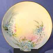 SALE Bavarian Porcelain Plate Hand Painted Forget-Me-Nots Signed