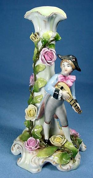 German Porcelain Figure of Young Man with Mandolin