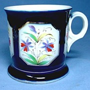 Cobalt Blue Shaving Mug with Hand Painted Flowers