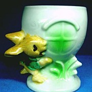 Figural Rabbit Egg Cup 1930s Molded Widows Series 1930s