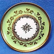 Exquisite German Porcelain Butter Pat with Lavish Gold and Beading