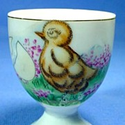 Vintage Egg Cup with Baby Chick and Flowers