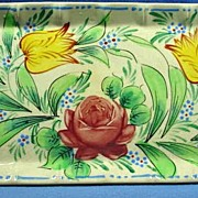 Hand Painted Ceramic Tray with Beautiful Tulips Forget-Me-Nots and Rose