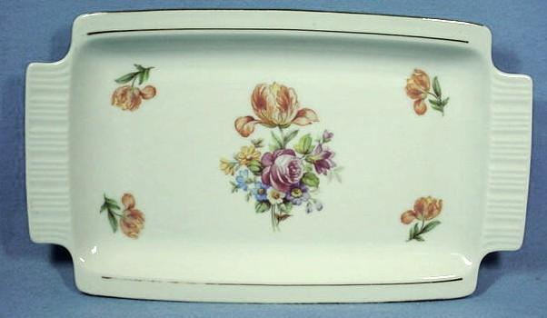 German Porcelain Tray with Pretty Orange Tulips and Pink Rose