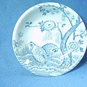 English Transferware Butter Pat with Quail