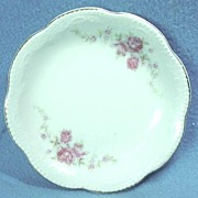 English Porcelain Butter Pat with Pink Roses