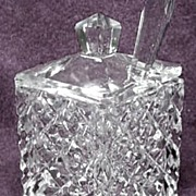 English Cut Crystal Mustard Pot with Facetted Cover and Spoon