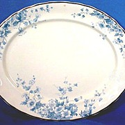 Large Platter with Blue Floral Design English:1886+