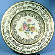 Cabinet Plate with Pretty Roses and Lavish Gold Decoration