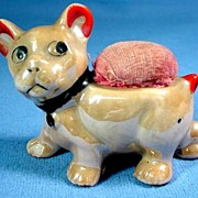 Figural Puppy Pin Cushion/Pincushion Lusterware