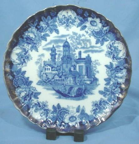 Victorian Scenic Flow Blue Plate with Exotic Buildings and Boat
