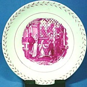English Cranberry Transfer Wedding Scene Dish 1820s