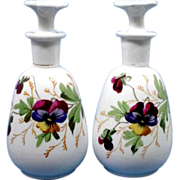 Pair Victorian Porcelain Cologne or Perfume with Hand Painted Pansies
