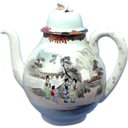 Early Japanese Eggshell China Tea Pot Hand Painted