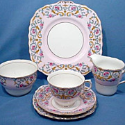 Tea Set for 4 English China Pretty Pink with Wide Floral Band