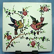Ceramic Tile With Colorful  Hand Painted Birds from Spain
