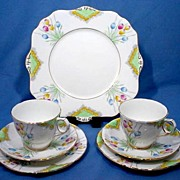 Royal Stafford China Tea For Two Set with Hand Painted Tulips