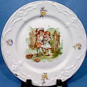 Victorian Child's China Plate Two Girls Dancing with a Doll