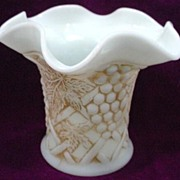 Antique Custard Glass Vase Grape and Trellis Design by Northwood