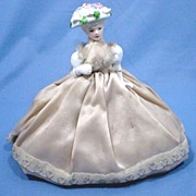 Vintage Pincushion Doll with Upswept Blonde Hair and Floral Hat