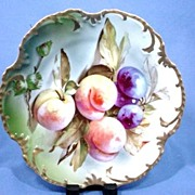 Gorgeous Bavarian Porcelain Fancy Plate with Peaches and Plums