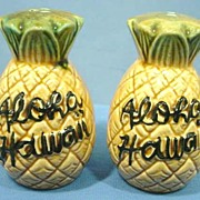SALE Souvenir Hawaiian Pineapple Salt and Pepper Shakers