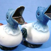 Figural Duck Salt and Pepper Shakers Hand Painted