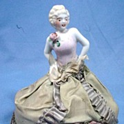 Vintage Pincushion Doll with Elaborate Green Taffeta Gown