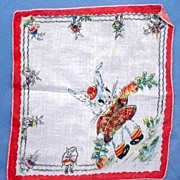 Child's Printed Handkerchief Hanky Hankie with Cute Rabbits