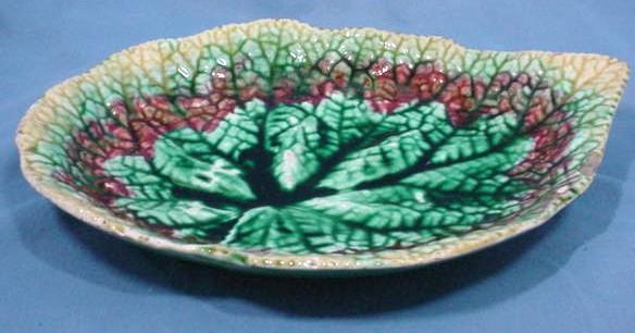 Antique Majolica Begonia Leaf Shaped Dish