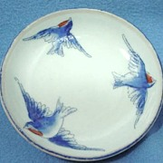Vintage Bluebird Butter Pat Hand Painted