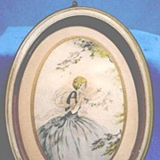 SALE Vintage Oval Framed Print Pretty Young Lady with Birds