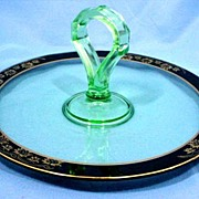 SALE Art Deco Serving Plate with Green Glass Center Handle