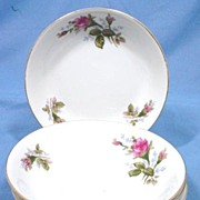 SALE Set of Four Moss Rose Bowls